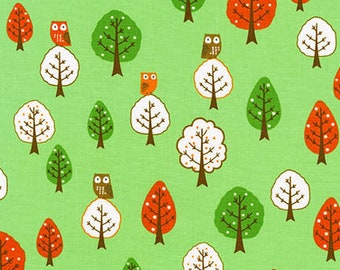 Robert Kaufman OWLS FOREST by Sea Urchin Studio/Cotton/Fabric/Sewing/Quilting