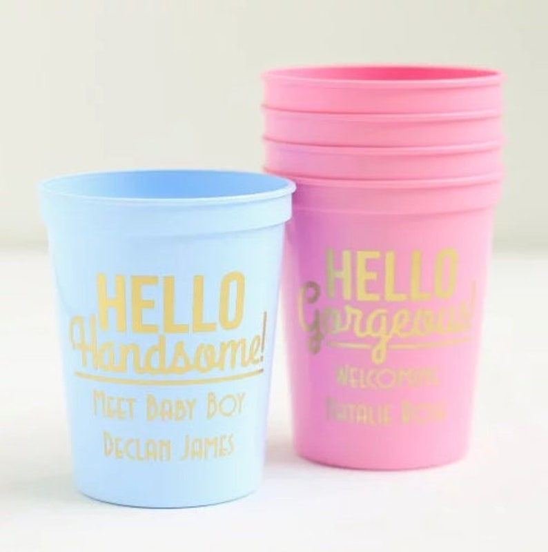8c1a50b3eb3 Personalized Baby Shower Stadium Cups 16 oz Personalized Baby   Etsy
