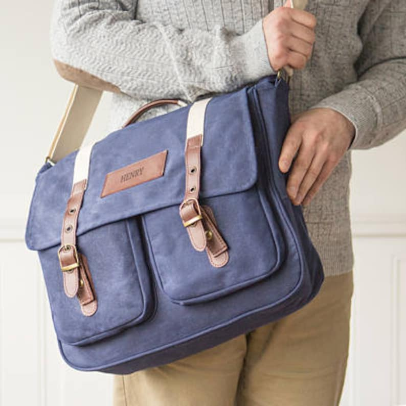 Personalized Men's Waxed Canvas & Leather Messenger Bag image 0