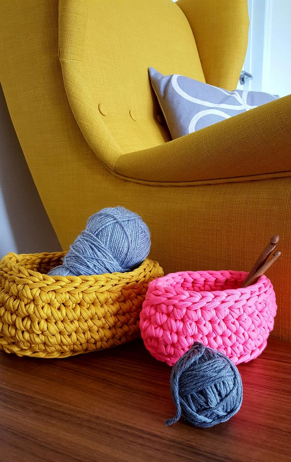 Hand Made Crochet Basket: Storage // Bathroom // Bedroom // Kids room // Office