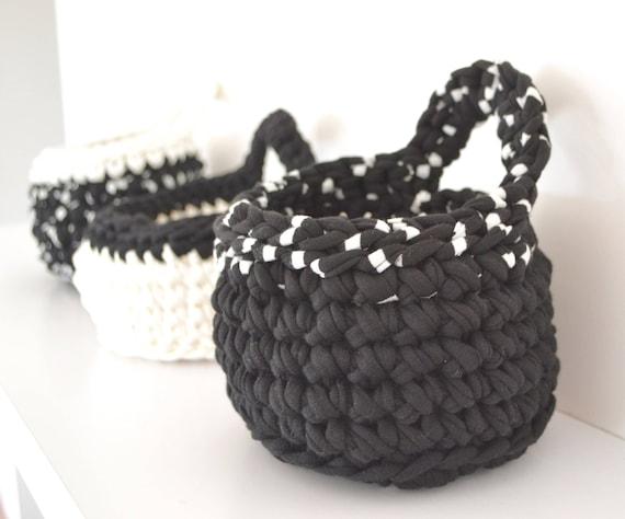 Hand Made Monochrome Crochet Basket: Storage // Bathroom // Bedroom // Kids room // Office
