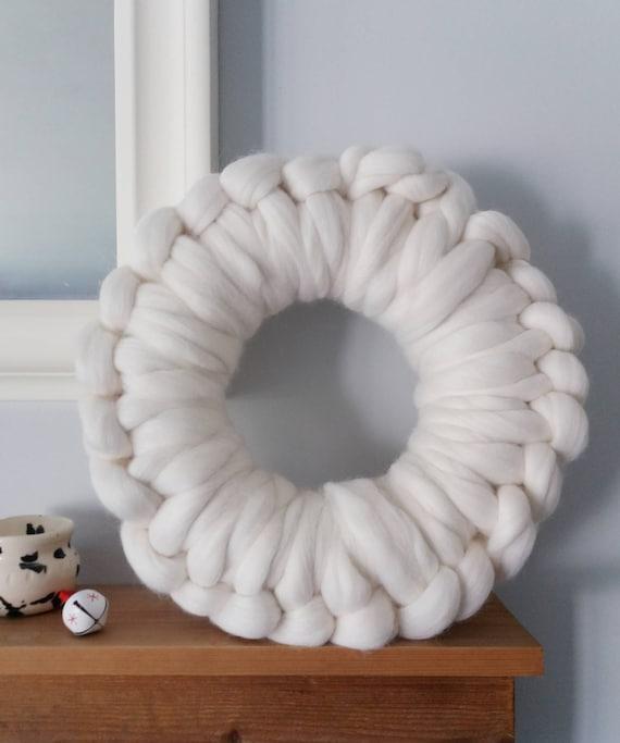 Chunky Knit Christmas Wreath / Pure Merino Wool / Holiday Wreath