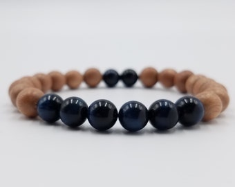 Blue Tiger Eye and Rosewood Mala Bracelet