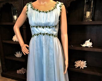 Look Like a Greek Goddess in this Vintage Baby Blue Formal Gown, Size 9.  Eligible for Layaway!