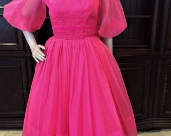 Beautiful Fuchsia Pink 1950's Formal Tea Length Gown. Eligible for Layaway!