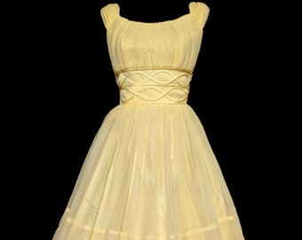 7fd5ebd04ed8 Vintage Lacy, Yellow, Flowing Chiffon Buttercup! *Eligible For Layaway!  FREE SHIPPING