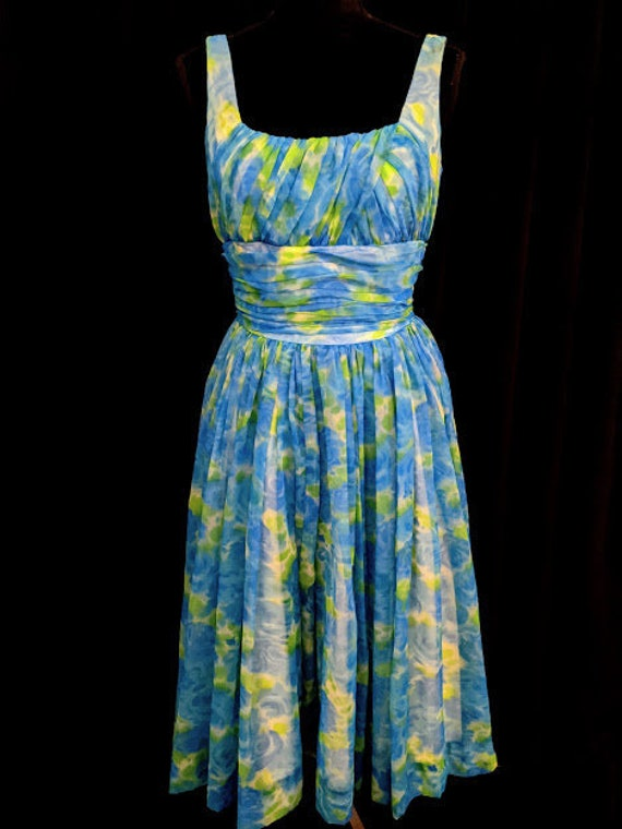 Vintage Watercolor Flora Print Dress By Gigi Young
