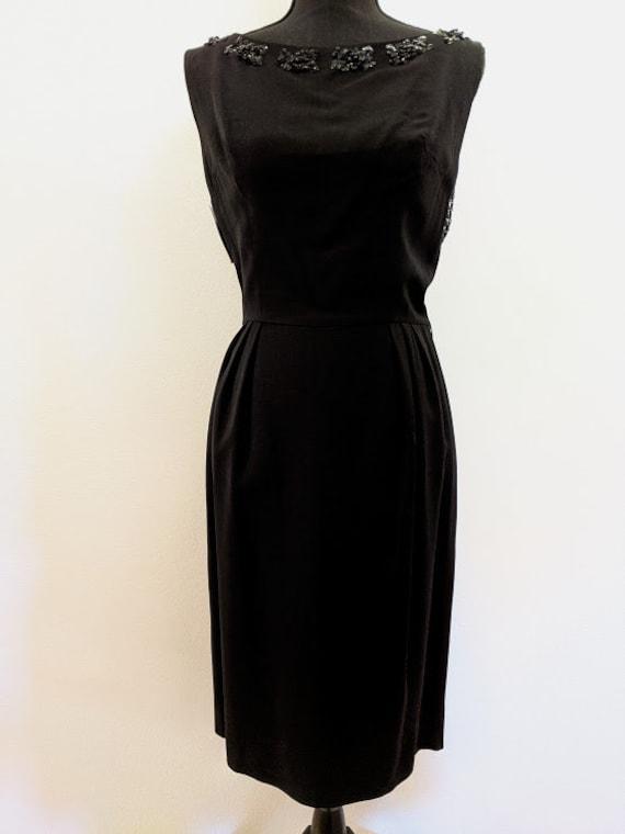 Vintage 1950's Black Cocktail Dress With Beaded Fr
