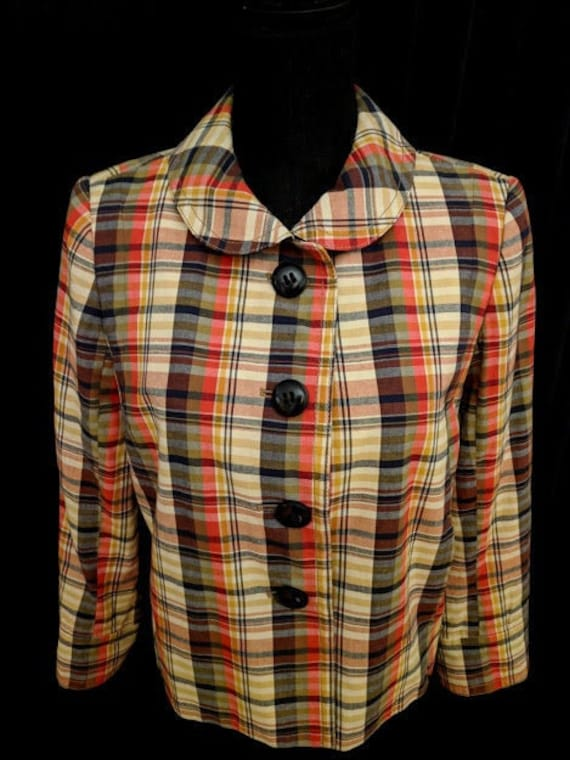 Vintage 60 S 70 S Madras Plaid Jacket By J Crew Size Etsy