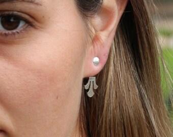 1eca5c44aeaff0 Lotus Earrings / Ear Jacket / Silver Jacket Earrings / Double Sided Earring  / Front Back Earrings / Ball Ear Jacket / Silver Ear Jacket