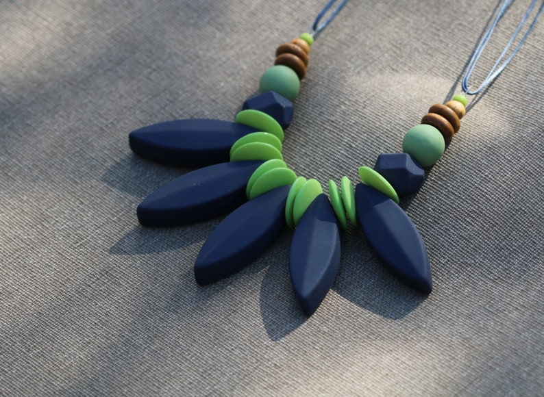 Chunky Necklace Tribal Jewelry Tribal Necklace Necklace for Women Blue Bead Necklace Large Hippie Necklace Blue Statement Necklace