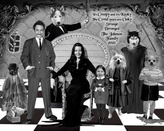 Funny family Covid Christmas Card, Addams Family spoof, Your Faces cropped onto the bodies of Morticia, Gomez, Wednesday, Pugsley, Lurch etc