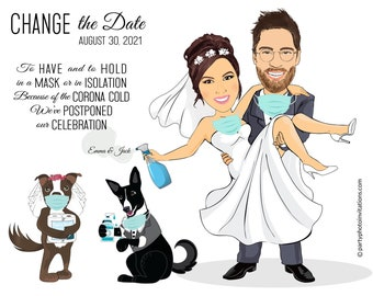 """Funny Change the date for postponed weddings. Save the date illustration, Wedding caricature """"with Covid masks"""" cartoon characters card"""