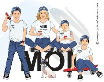 Mom and Sons Illustration/Mother and Son Portrait/Mom Son caricature /Mother's day gift/Personalised Gift Mum/Custom portrait mother of sons