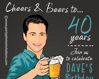 Man's Birthday Party Invitation,30th 40th 50th 60th any age, Male funny birthday invitation, Beers and Cheers, saloon, caricature, koozie