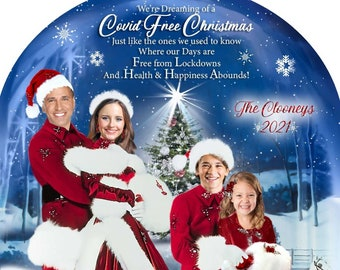 Funny Covid Christmas Card, White Christmas,Classic White Christmas Family Photo Card,Holiday Movie Card,Custom
