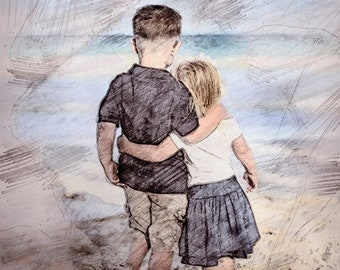 Drawing From Photo, Family Portrait, Pencil Sketch, Watercolor, Custom Art, Photo Art, Picture into Art, Personalized Gift, Custom Portrait