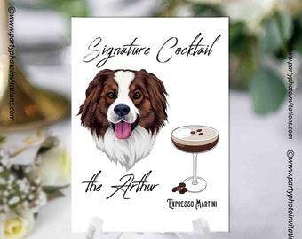 Custom Signature Pet & Drinks Digital Print, Signature Cocktail Sign, Wedding Decor,Wedding Bar Menu, Pet Wedding Bar Sign,Dog Pet Portrait
