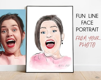 Custom Line Drawing, Quirky Line Art Face Portrait, Minimalist Portrait, Minimalist drawing, Single line art,FACE portrait,Selfie caricature