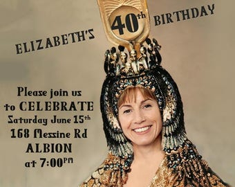 Womans 40th Birthday Party Invitation Created With Your Photo Cleopatra Egyptian Theme Female 30th50th
