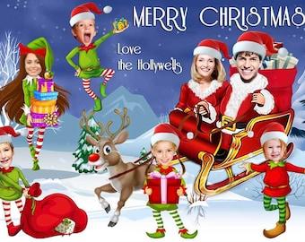Santa Sleigh Christmas Card, Santa and Elves family Photo Christmas Card, Photo Christmas Card, Unique Christmas Card, Custom photo portrait