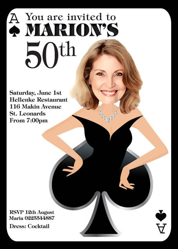 Womans 50TH Birthday Invitation Ace Of Spades From Your Photo 40th Party 60th 70th 80th