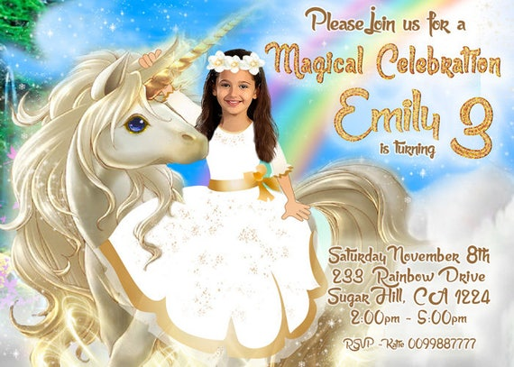 Personalized Unicorn Invitation Party Rainbow Birthday PHOTO Invite Winter