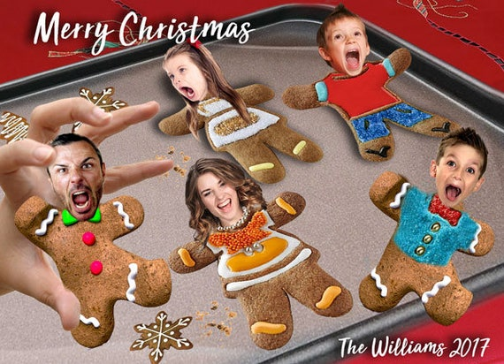 Scared Gingerbread Men Christmas Card Caricature Gingerbread Cookies Funny Family Portrait Christmas Card Gingerbread Cookie Scare Holiday By Photo Fun Creations Catch My Party