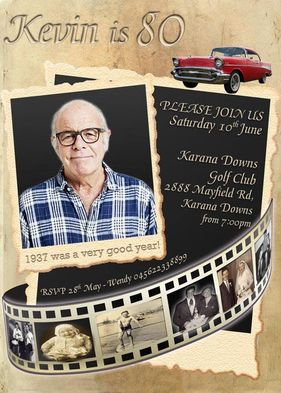 Movie Reel 80th Birthday Invitation RETRO Photo 70th 60th 50th Male