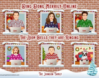 Funny Covid Christmas CARICATURE Card, YOUR FACES on ugly sweater comic bodies, family/Corporate Christmas card, Zoom caricature,online Xmas