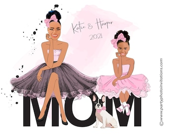 Mother and Daughters Print   Birthday Gift   Mom and daughter sketch  Mothers Day Gift   Mom Gift   Mommy & me matching, Personalised Gift
