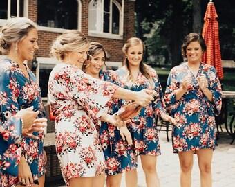 ad543607feeb7 Robe Personalized, Kimono Robe Cotton, Bachelorette Robes, Bridesmaid Robes,  Bridal Robes, Bridal Party Robes, Floral Robe (Cotton Floral)