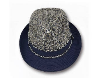 Melina - Sun Styles Organic Raffia and Cotton Woven Blend Trilby Fedora Hat XGZ-079