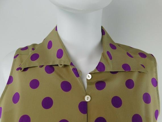 MaxMara Italy Vintage US 10 Silk Polka Dot Statem… - image 4