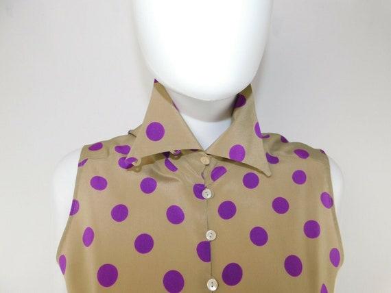 MaxMara Italy Vintage US 10 Silk Polka Dot Statem… - image 2