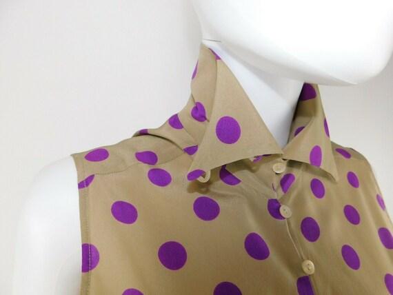 MaxMara Italy Vintage US 10 Silk Polka Dot Statem… - image 3