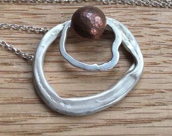 Sterling Silver with Copper Pendant on Simple Silver Chain