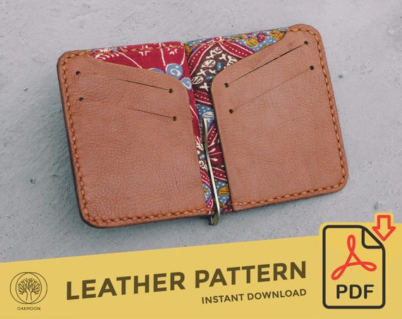 Money Clip Wallet Template Pattern PDF Leather Crafting