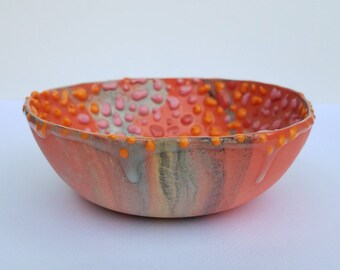 Small Round Flowers Bowl Sgraffito Pottery SG662