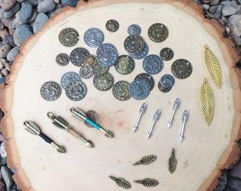 Destash jewelry supply -coin charm lot