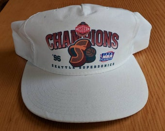 1996 Seattle Supersonics Conference Playoffs New Era Adjustable deadstock Cap Hat White