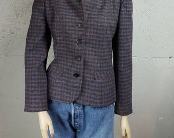 Beckenridge Plaid Wool Sport Coat Blazer Size Womrns S M Small Medium