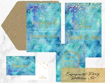 Engagement Party Invitation Set- Printable 4 piece Engagement Party Bundle