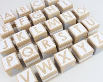 Wooden alphabet blocks - white + grey
