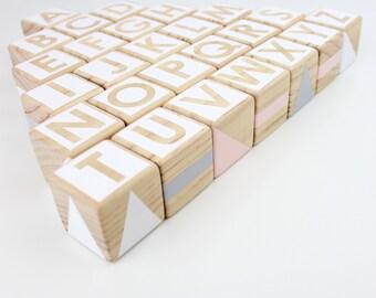 Wooden alphabet blocks - pink, grey + white