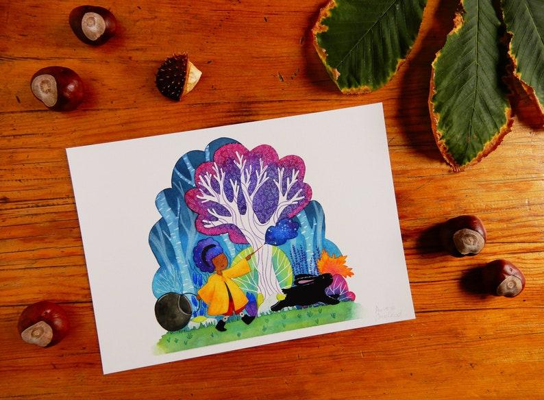 Witch wall art print, fantasy watercolour art, magic art, witchery print,  wizard lover gift, cute gift, fine art print,