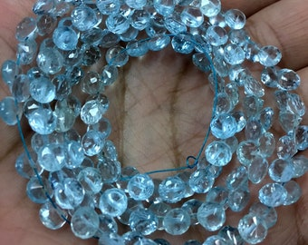 Blue green kyanite faceted drop briolette beads AAA 7-9.5mm 18pcs
