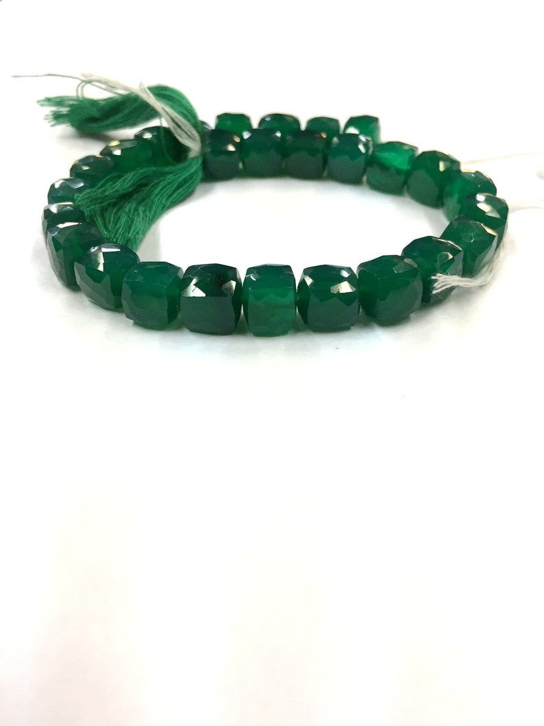 Natural Faceted Green Onyx Cube Beads 8mm Gemstone Beads 8 Strand Superb Quality