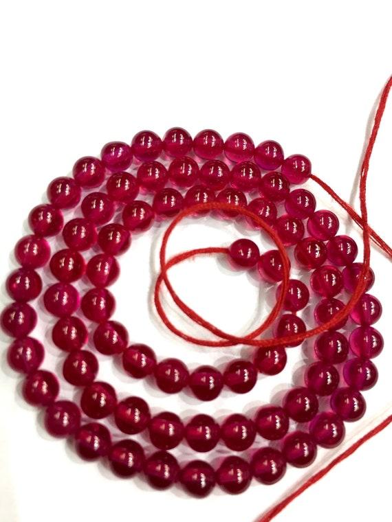 Gorgeous Red Corundum Smooth Round Shape Beads 7.5-8mm Loose Gemstone Corundum Beads 16 Strand Superb Quality New Arrival