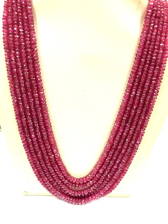 23 inch strand Precious Longido Faceted Beads Bead Size 3-4 mm Natural Dark red ruby gemstone beads necklace